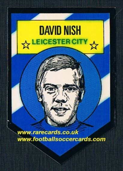 1972 BAB unused Shooting Stars David Nish Leicester City with backing paper